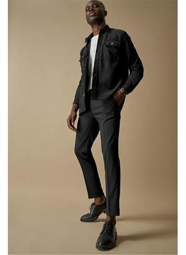 DeFacto Regular Fit Süet Ceket Siyah